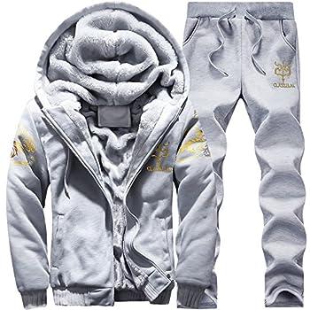 Men s Winter Fleece Tracksuit Soft Thick Hooded Jogging Sweat Suits Warm Coats Grey-XL