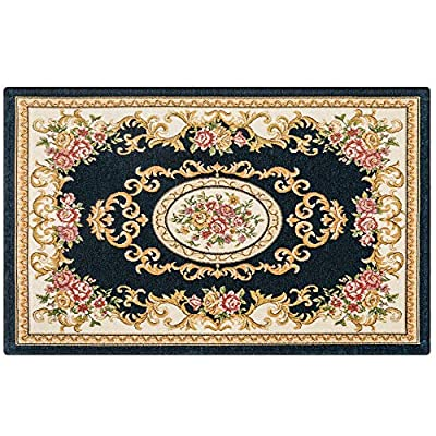 """Rose Lake Floral Door Floor Mat29×17""""Durable Absorbent Indoor Outdoor Rug Entryway Easy Clean Welcome Foldable Mats with Anti-Slip Rubber Back Low-Profile for Entry Patio Pets Garage (Navy Blue)"""