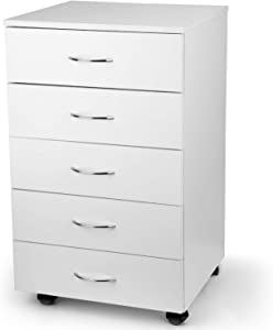 TUSY 5 Drawer Cabinet, Storage File Organization Dresser for Home Office with Metal Handles Rollers Wheels, White