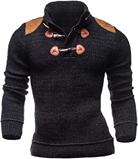 HEFASDM Mens Fit Relaxed Stand Collar Knitwear Botton Front Tunic Shirt