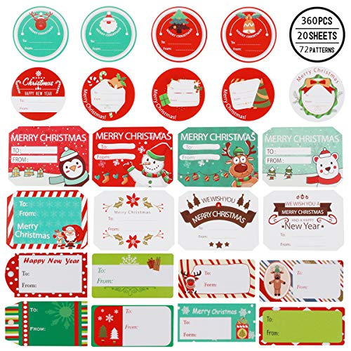 360 Pieces Christmas Sticker Labels, Jumbo Self Adhesive Tag Stickers Santa Snowmen Xmas Tree Deer Holiday Decorative Presents Labels Decals Christmas for Friends
