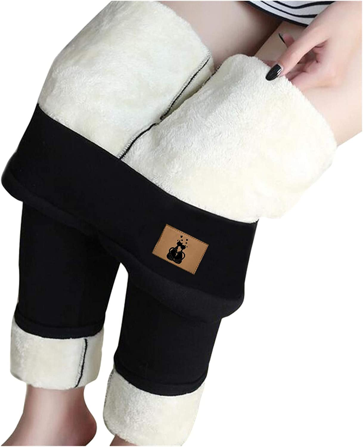 Winter Sherpa Fleece Lined Leggings for Women,Stretchy Thick Cashmere Leggings Plush Warm Thermal Pants