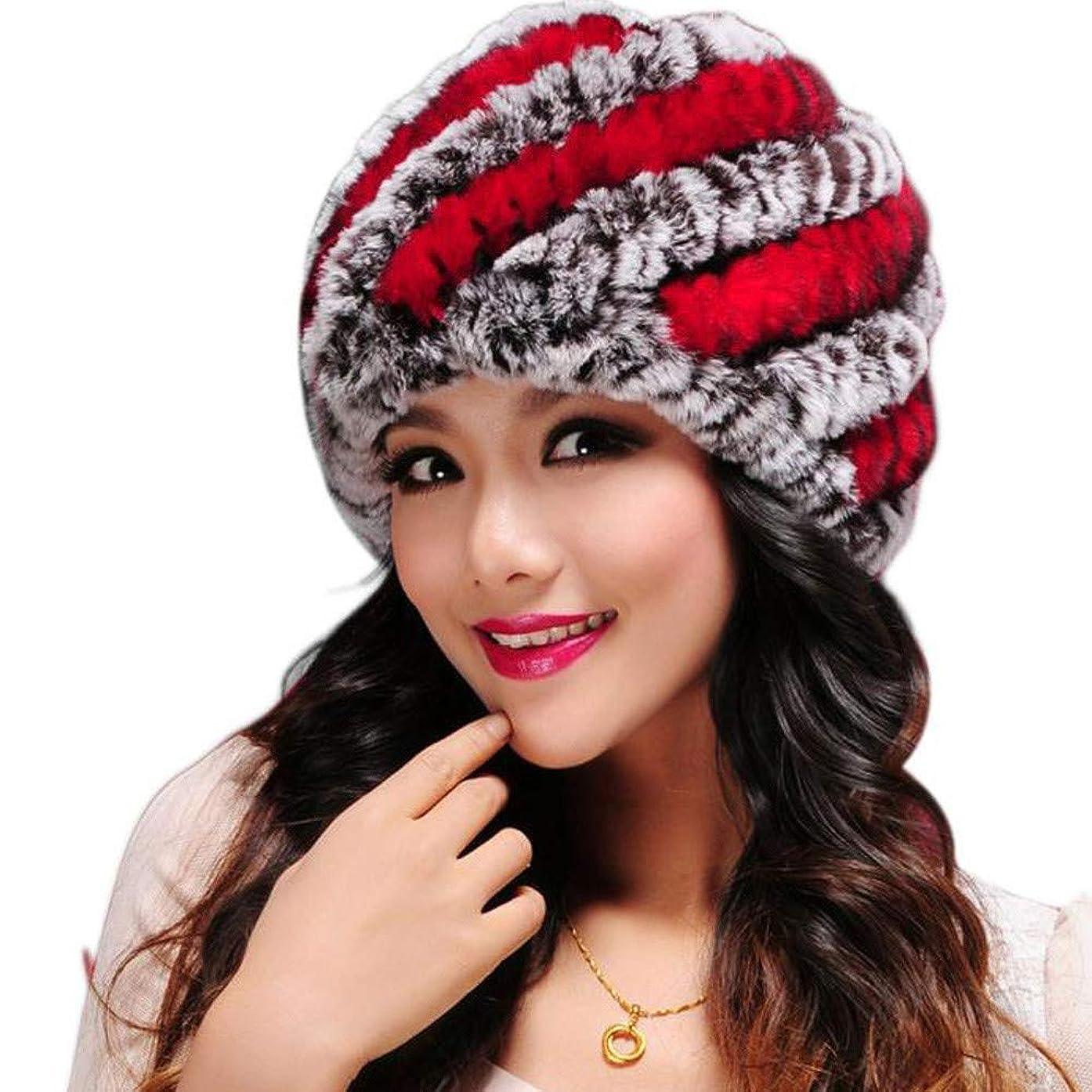 パウダークスコペットRacazing Hat 選べる5色 編み物 レックスウサギの髪 ニット帽 ストライプ 防寒対策 通気性のある 防風 ニット帽 暖かい 軽量 屋外 医療用帽子 スキー 自転車 クリスマス Unisex Cap 男女兼用 (レッド)