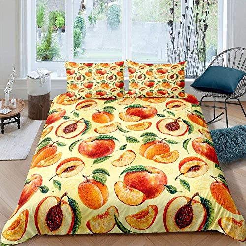 Rvvaceo Double Duvet Cover Set Duvet Cover With Pillow Cases, 3 Piece Bedding Set, Soft Poly-Cotton Quilt Cover, Machine Washable, Easy Care-Double (200 X 200 Cm) Retro Fruit Peach Leaves Maiden