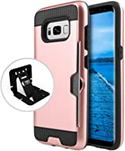 Samsung Galaxy S8 Plus Case Slim Brushed Metal Hybrid Hard Case on TPU w/ Card Slot [Rose Gold/ Black] with Travel Wallet Phone Stand