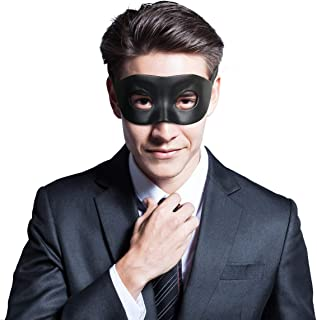 BengPro Mens Black Venetian Mardi Gras Masquerade Mask Faux Leather Halloween Costume Fancy Half Eye Mask
