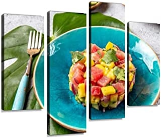 4 Panel Tropical style gourmet tuna mango salad tartar with cilantro and Canvas Print Pictures Modern Home Decor Posters G...