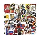 MENGYUE 56 Piezas Alrededor del Mundo Viaje Retro Maleta Pegatina Personalidad portátil Doodle Maleta Pegatina