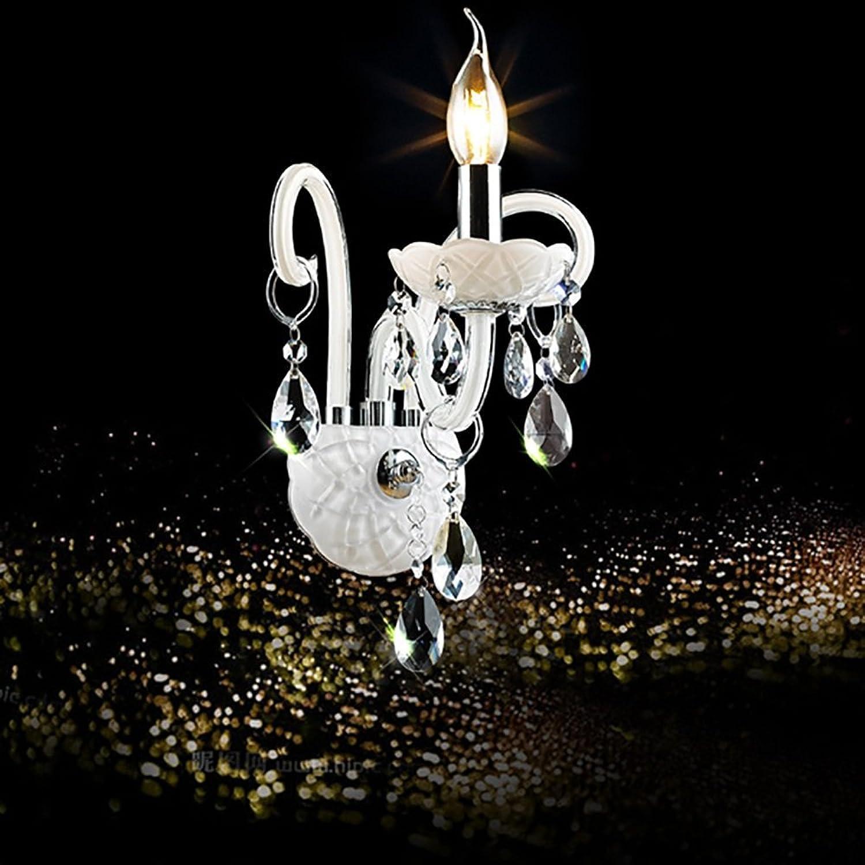 TOYM UK Europische Treppe Wohnzimmer Schlafzimmer Kristall Wand Lampe Gang Lampe Kerze Nachttischlampe (Farbe   Einzelkopf)