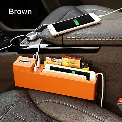 Caja de Almacenamiento Car Wireless Charger Storage Box Car Multifunction USB Phone Manager para Apple X iPhone 8 Plus Samsung S9,Brown
