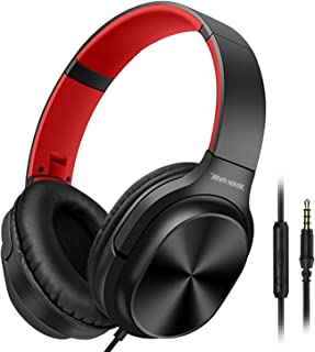 Besom On-Ear Headphones with Microphone Lightweight Folding Stereo Headset Tangle Free Cord, Wired Headphones for Cellphones Smartphone Tablet Laptop Computer MP3/4 (Black Red)