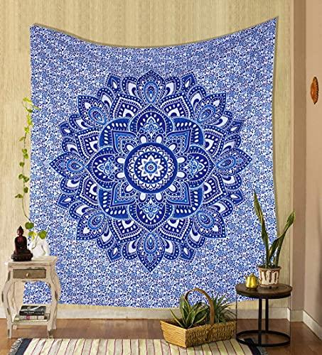Tapiz de pared de mandala azul dorado hippie bohemio Trippy colcha de algodón psicodélico flor ombre colgante de pared para dormitorio picnic manta
