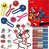 Power Rangers Ninja Steel Birthday Party Favors and Goodie Bag Fillers Pack For 12 With Power Rangers Pencils, Disc Shooters, Tattoos, Goody Bags, Ninja Toy, and Pin