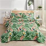 YC 3-Piece Tropical Quilt Set, Rainforest Plant Floral Summer Quilt Full/Queen Size, Microfiber Flower Bedspreads Birds + 2pcs Pillow Shams-Red Flowers Plant Coverlet Set