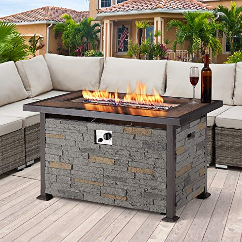 U-MAX Outdoor Propane Gas Fire Pit Table, 44 Inch 50,000 BTU Gas Auto-Ignition Rectangle Firepit for Patio with Gray Faux Stone...