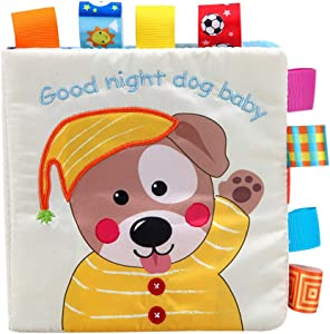 Miklan Baby Lovely Dog Activity Cloth Book Baby Toy Cloth Development BB Sound Books,Intelligence Developmental Toys,Educational Learning Toy for Kids Toddlers Boys Girls