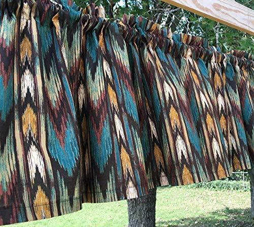 Southwestern Arrow Stripe Western Cowboy Striped Teal Brown Window Topper Curtain Valance t4/29