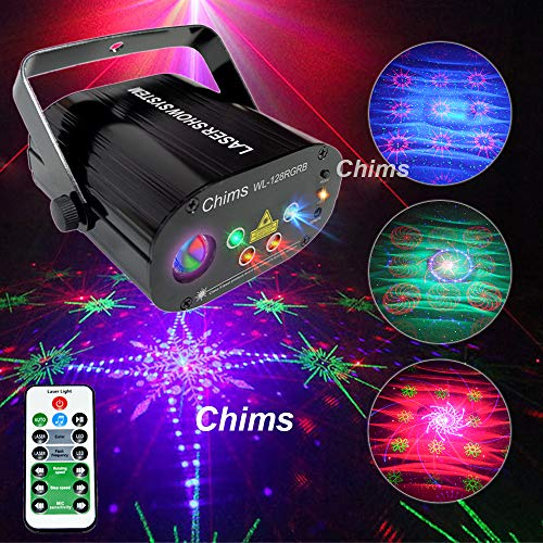 Chims DJ Laser Lights Projector Red Green Blue 128 Patterns RGB Colorful LED Ripple Wave Lighting for Birthday Party DJ Stage Disco Music Festival Gift Club Christmas Xmas Party (RGB 128 Patterns)