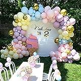 HUANGRONG La Boda del Globo de la Cadena Paquete Macaron Globo Látex Conjunto de cumpleaños Bodas Sala de Bodas decoración del Partido Corona Decoración Globos (Color : Set A)