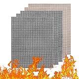 SANMERSEN グリルマット くっつかない バーベキューマット 焦げ付き防止 グリルシート 焼き網 BBQ網 PTFE 格子マット 超耐熱 260℃ FDA認証済 鉄板用 電子レンジに対応 5枚セット(ブラック 3枚 ブラウン 2枚)
