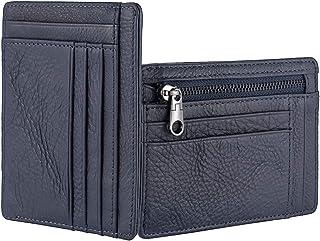 Minimalist Wallet RFID Blocking Front Pocket Wallet for Men Women, Leather Zipper Slim Credit Card Holder