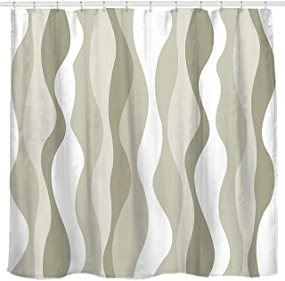Sunlit Greenish-Brown Vertical Wave Stripes Fabric Shower Curtain, Water-Repellent Printed Bathroom Curtain Earth Tone