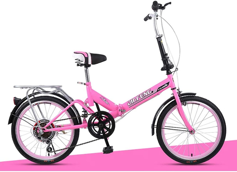 HLMIN 20インチ 折りたたみ自転車 多色 増粘 二重層 合金アルミフレーム 軽量 6速 サスペンション付き (Color : ピンク, Size : 20inch-6speed)