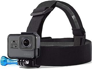 MiPremium Head Strap Mount Compatible with GoPro Hero (2018) Fusion Session Black Silver Hero 7 6 5 4 3 3+ 2 1 EK7000 Sjcam Action Cameras Elastic Flexible Head Belt + Aluminum Thumbscrew (Head Strap)