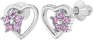 925 Sterling Silver Pink CZ Heart Flower Screw Back Earrings Children Girls
