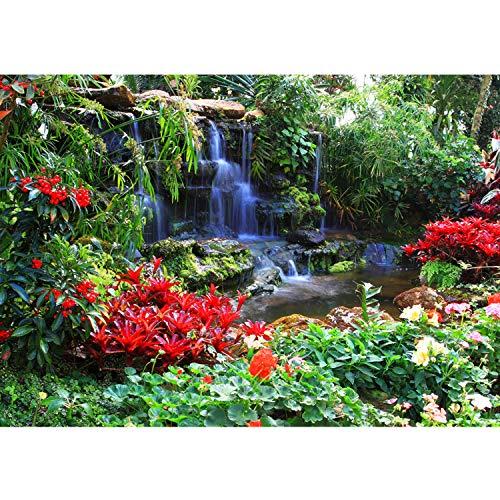 Vlies Fototapete PREMIUM PLUS Wand Foto Tapete Wand Bild Vliestapete - Wasserfall Urwald Pflanzen Baum Natur - no. 448, Größe:300x210cm Vlies