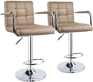 Leopard Square Back Adjustable Bar Stools with armrest,Swivel Bar Stool Set of 2, Black (Khaki)