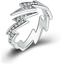 Sterling Silver Plated Cubic Zirconia Flash lightning Open Band Ring,Adjustable For US 5-9