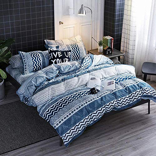 HYPREST Queen Duvet Cover Set -Blue Duvet Cover Teal Bohemian Lightweight Soft Zip Closure 3PC Comforter Cover Set Hotel Quality