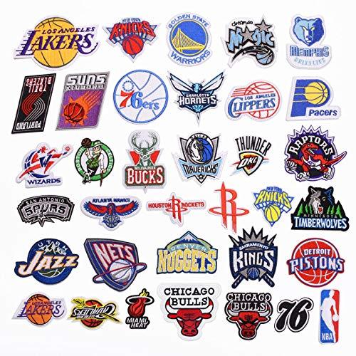 Patch Sticker,Parche de ropa Apliques DIY Coser o Planchar para Ropa Camiseta Jeans Sombrero Pantalon Bolsas, logotipo del equipo de baloncesto de dibujos animados de 35 piezas