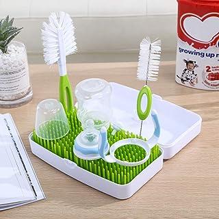 DQTYE - Soporte de secado de botellas de bebé sin BPA con bandeja de agua extraíble para secar tetinas, tazas, partes de bomba de almacenamiento, organiza el secado con cepillo