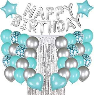 Auralto Tiffany Blue Birthday Party Decorations Set with Silver Happy Birthday Balloons Banner, Turquoise and Silver Ballo...