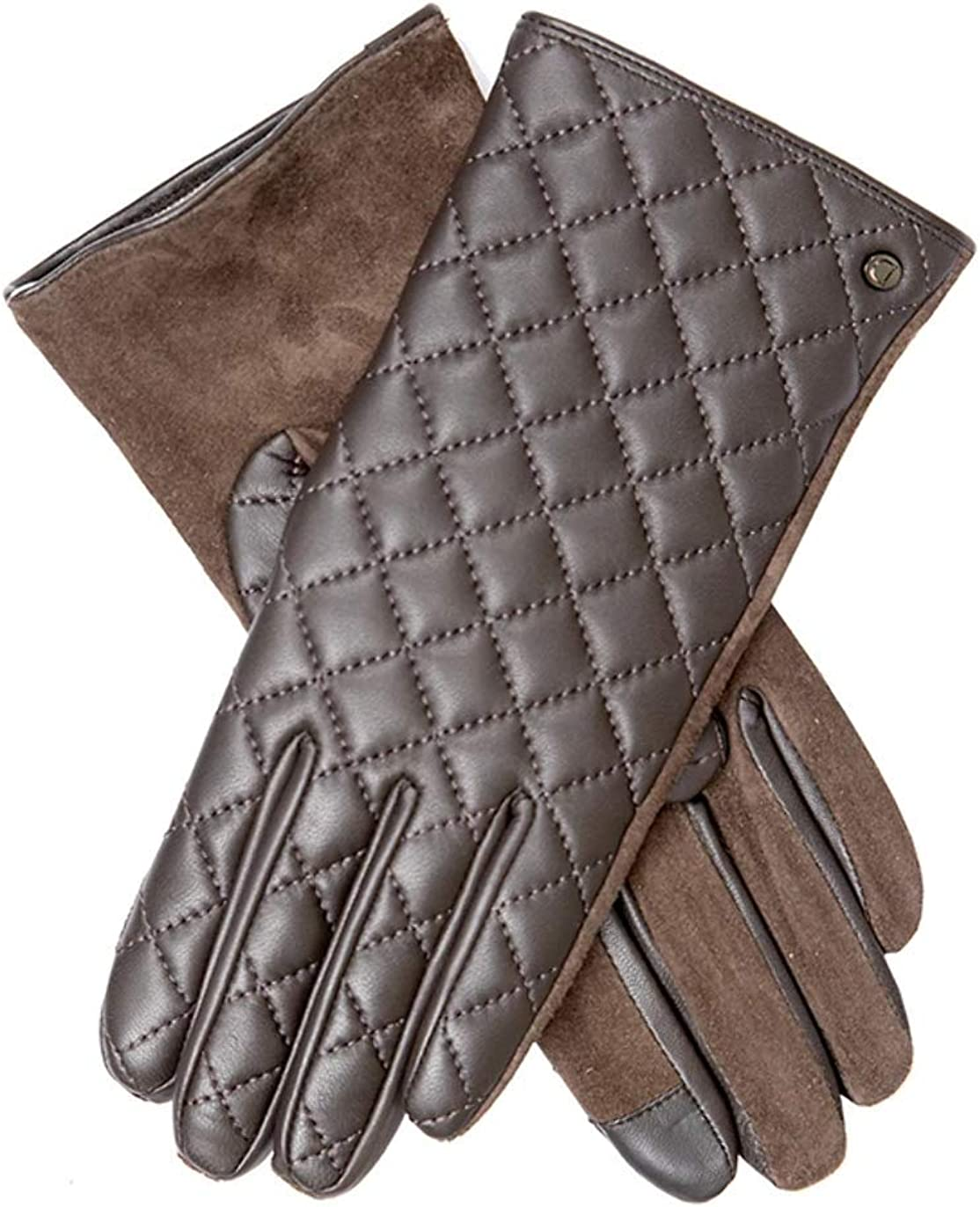 Dents Womens Jen Touchscreen Quilted Gloves - Mocca Brown