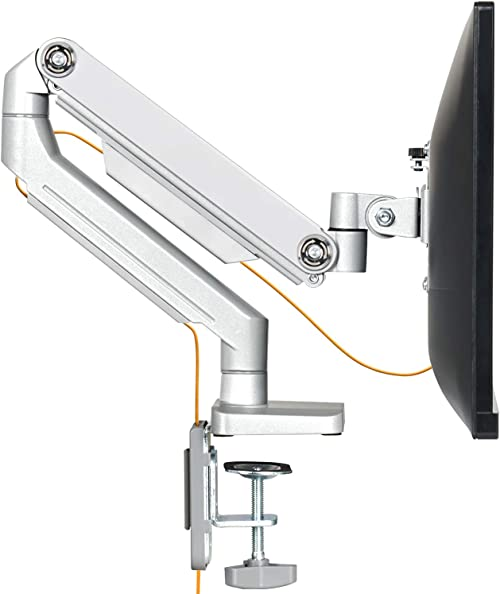 EleTab Single Monitor Desk Mount - Height Adjustable Single Monitor Stand Articulating Full Motion Swivel VESA Arm Fi...
