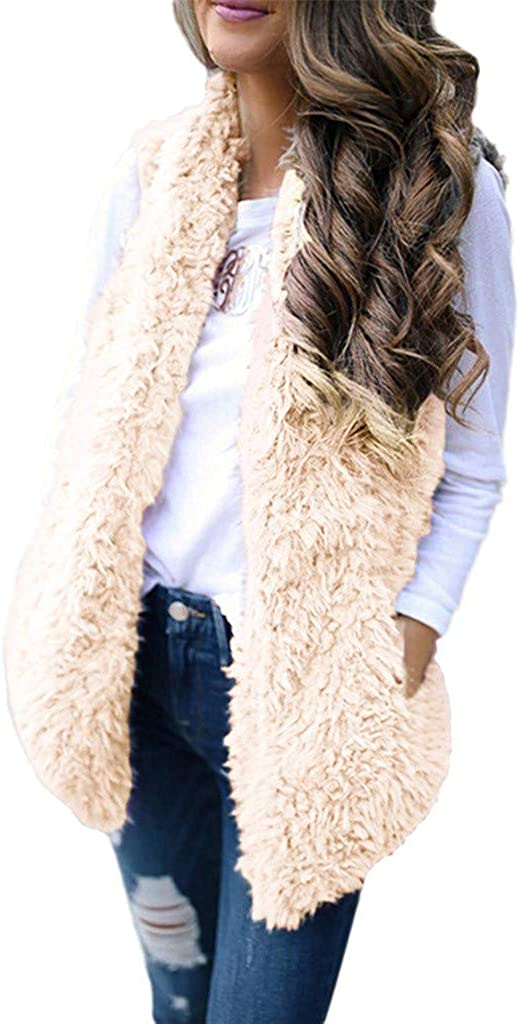 Womens Fuzzy Sherpa Fleece Jacket Lightweight Vest Cozy Sleeveless Cardigan Zipp Waistcoat Solid Color Outerwear with Pocket