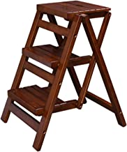 LIXIONG Escalera de Tijera, Escalera de 3 Peldaños Madera Maciza Multifunción Estante de Flores, Taburete de Escalera por ...