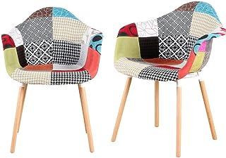 Juego de sillas de comedor de cocina con reposabrazos y funda de tela de patchwork en diseño retro, para sala de estar, comedor, cafetería, salón