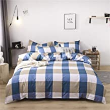 NOKOLULU Farmhouse Buffalo Check Gingham Simple Geometric Square Pattern Bedding Set Modern and Fashionable Plaid Anti Allergy Duvet Cover with Sham Set for Home King Blue