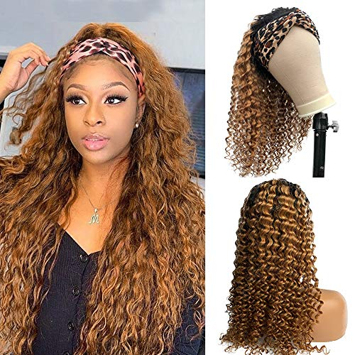 Headband Human Hair Wigs for Black Women No Lace Front Wigs Ombre Natural Black to Strawberry Blonde Highlight Glueless 150% Density Full Thick Ends Machine Made Curly Real Hair 18 inch Deep Wave
