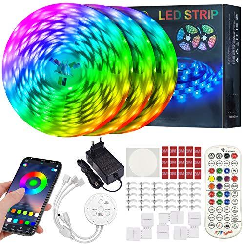 ERAY Tiras LED Bluetooth 15M, Luces LED RGB 5050 450LEDs/ Control Remoto/Aplicación/Función de Corte/Modo de Música/Temporizador, Ideal para Decoración de Techo, Bares, Habitación, Color Blanco