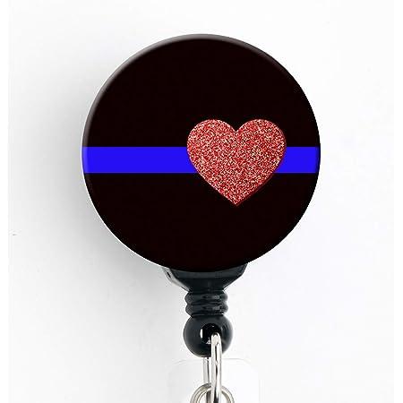 Police Badge Reel-Glitter Badge Reel-Badge Holder-Police-Back The Blue-Blue Line-Cops-Badge ID-ID Holder-Black Glitter-Back the Badge