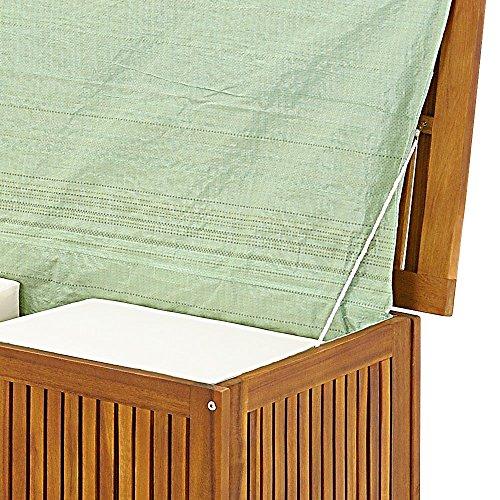 Gartentruhe Auflagenbox mit Innenplane Akazienholz 117cm - 6