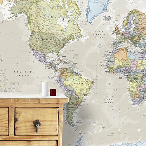 Gigante Murale della Mappa del Mondo - Classico - 232 (larghezza) x 158 (altezza) cm…