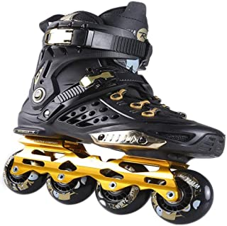 GXDHOME Inline Skates Men's and Women's for Adult Fitness Performance Professional Inline Skates Unisex Roller Skates for Kids and Youth Great for Beginners Indoor Outdoor Skates,Black Gold,40