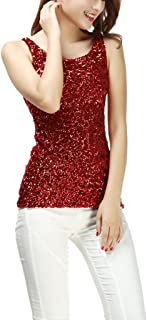 Ladies Glitter Sparkle Sequin Paillettes Evening Wear Tank Tops Shirts