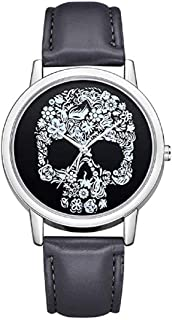 TOPOB 2019 New Casual Analog Quartz Watch, Personality Skull Pattern Minimalist Dial Leather Band Fashion Wrist Watch